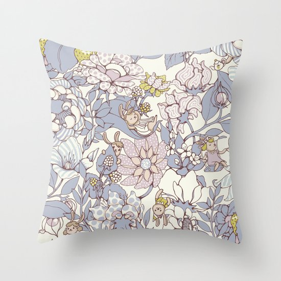 Garden party - jasmine tea version Throw Pillow