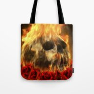 Skull, Roses And Fire Tote Bag