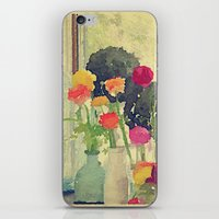 Vintage Water Color Botanical -- Colorful Spring Ranunculus Flowers Still Life iPhone & iPod Skin