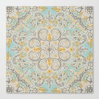 Gypsy Floral in Soft Neutrals, Grey & Yellow on Sage Canvas Print