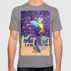 Hokusai People seeing the Angel riding a dolphin in Universe Mens Fitted Tee Tri-Grey SMALL