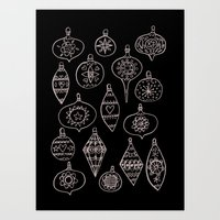 Retro Christmas Ornaments Art Print