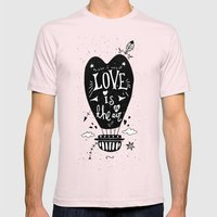 LOVE IS IN THE AIR Mens Fitted Tee Light Pink SMALL