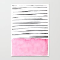 Stripes and pink watercolor Canvas Print