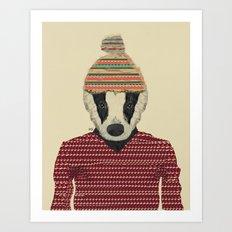 Seb The Badger  Art Print