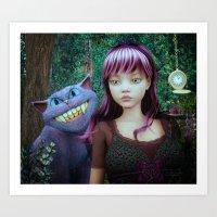 alice in wonderland Art Prints featuring Wonderland Alice by JMP Graphics