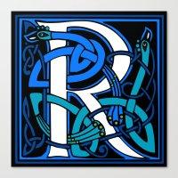 Celtic Peacocks Letter R Canvas Print