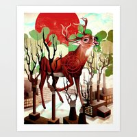 Deer In The Works Art Print