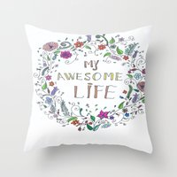 Awesome  Life Color Throw Pillow