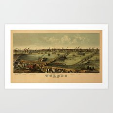 Map of Toledo 1876 Art Print