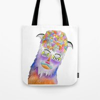 Psychic Bison Cat Tote Bag