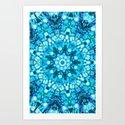 Blue Pebbles Mandala Art Print
