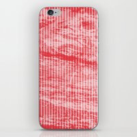 Grunge red and white stripes texture iPhone & iPod Skin