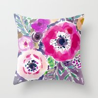 RED ANEMONE SPRAY FLORAL Throw Pillow