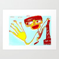 Give Me 5 In Blue Art Print