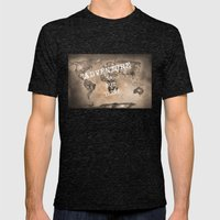 Adventure Is Out There. … Mens Fitted Tee Tri-Black SMALL