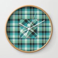 Plaid Pocket - Teal Blue/Green Wall Clock