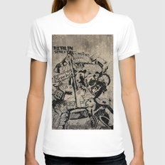Berlin Street Art concrete Womens Fitted Tee White SMALL