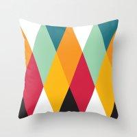 Yellow Orange Red Blue Black Diamond Pattern  Throw Pillow