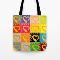 Gold Hearts On Colorful … Tote Bag