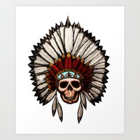 native american Art Prints featuring Native American by DAFJR