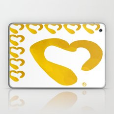 Gold Hearts On White - L… Laptop & iPad Skin