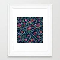 Pixel Flowers Framed Art Print