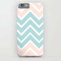 iPhone & iPod Case featuring PEACH & BLUE CHEVRON by natalie sales