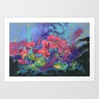 Geraniums, Geranium painting, pink geraniums, flower painting Art Print