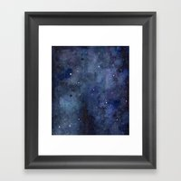 Night Sky Stars Galaxy   Watercolor Framed Art Print