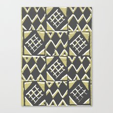 Grey and Beige Pattern Print Canvas Print
