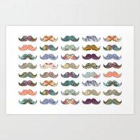 mustache Art Prints featuring Mustache Mania by Bianca Green