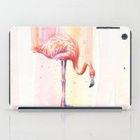 Pink Flamingo Watercolor | Facing Right iPad Case