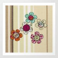 Embroidered Flower Illustration Art Print