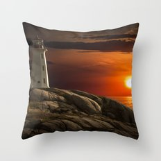 Lighthouse at Sunset in the Peggy's Cove Throw Pillow