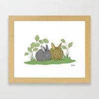 Woodland Rabbits. Framed Art Print