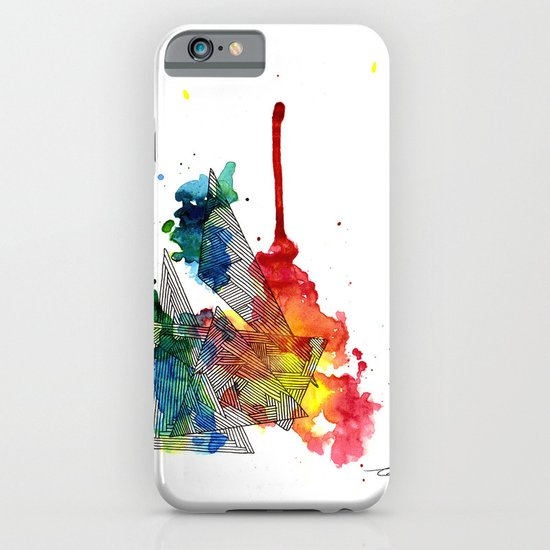 Watercolor and Fine Liner Triangles iPhone & iPod Case