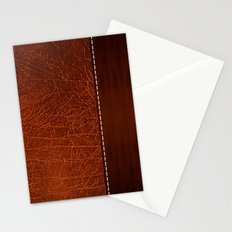 Brown leather look #2 Stationery Cards