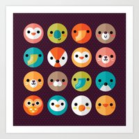 rose Art Prints featuring SMILEY FACES 1 by Daisy Beatrice