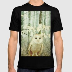 Winter Owl SMALL Black Mens Fitted Tee