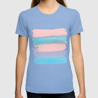 Flowers strokes Womens Fitted Tee Tri-Blue SMALL
