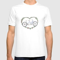A bicycle made for two SMALL White Mens Fitted Tee