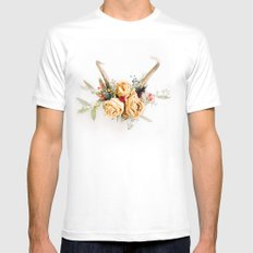 Floral Antlers IV Mens Fitted Tee SMALL White