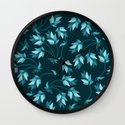 Floral blue pattern Wall Clock