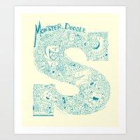 Monster Doodle - Light V… Art Print