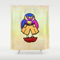 Colorful Owl In Trousers Shower Curtain