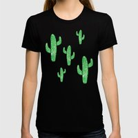 Linocut Cacti Green Womens Fitted Tee Black SMALL