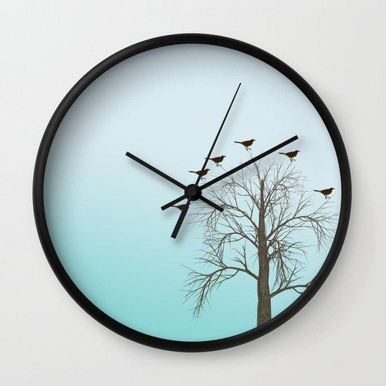 Tree with Birds Wall Clock
