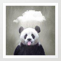 Panda Rain Art Print