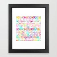 Aztec Splash | White Tribal Abstract Aztec Neon Rainbow Splatters Framed Art Print